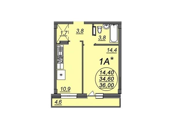 1-комнатная 36 кв.м