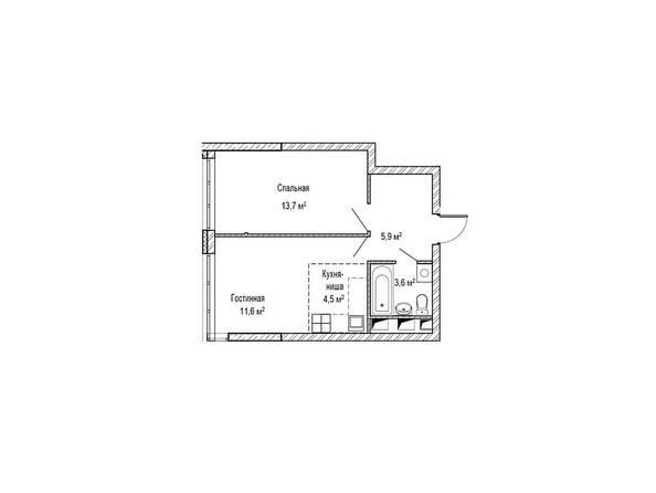 Планировки Жилой комплекс ЮЖНЫЙ, дом «Бирюзовый» - Планировка двухкомнатной квартиры 41,8 кв.м