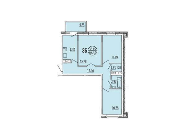 Планировка 3-комн 68,43 м²