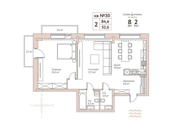 Планировки Жилой комплекс Эко-квартал Flora&Fauna (Флора и Фауна), блок В - 2-комнатная 84,6 кв.м