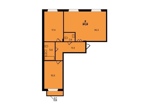 Планировка 3-комн 91,9 м²