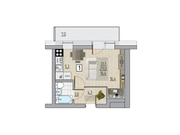 Планировка однокомнатной квартиры 31,1 кв.м