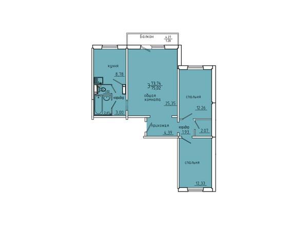 Планировки Жилой комплекс Иннокентьевский, 3 мкр, дом 6 - Планировка трехкомнатной квартиры 75,02 кв.м
