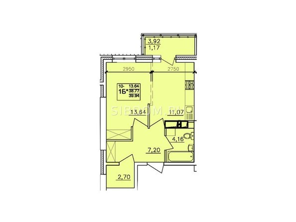 Планировки АЛЕКСАНДРИЯ, б/с 6 - 1-комнатная 39,94 кв.м