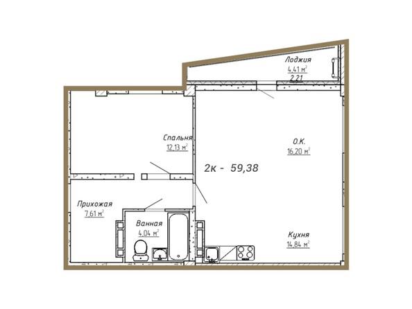 Планировки Жилой комплекс ДОМ НА СИБИРСКОЙ - Планировка двухкомнатной квартиры 59,38 кв.м