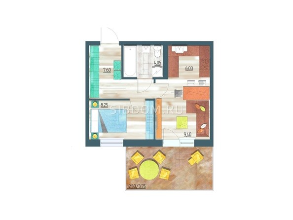 Планировки Жилой комплекс ЖИВЁМ эко-район, 3 квартал, дом 1 - Планировка двухкомнатной квартиры 39,05 кв.м