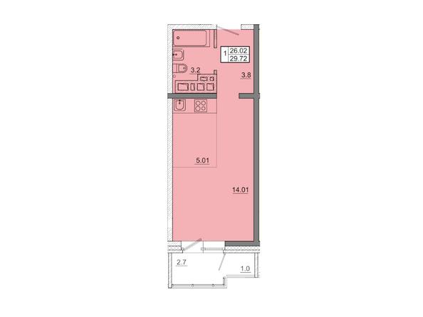 1-комнатная 29,72 кв.м