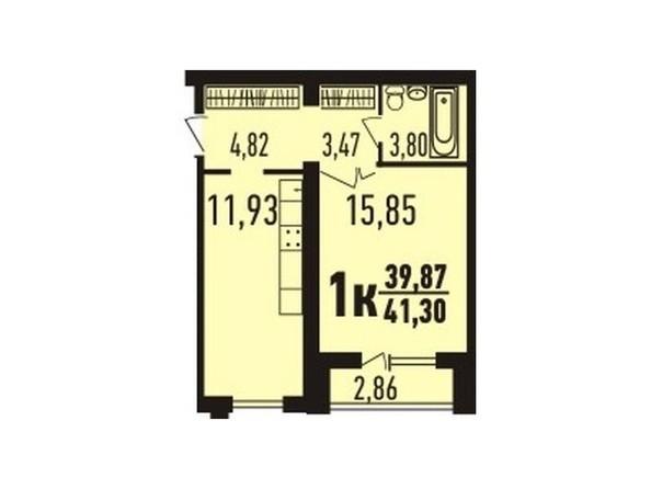 1-комнатная 41.15 - 41.55; 41.65 кв.м