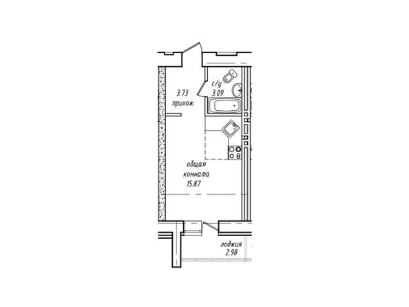 Планировки Жилой комплекс НЕВСКИЙ 2 КВР, 7 дом - Планировка однокомнатной квартиры 23,73 кв.м