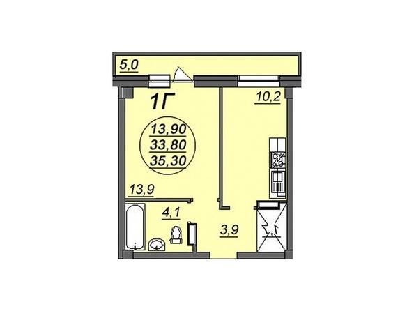1-комнатная 35,3 кв.м