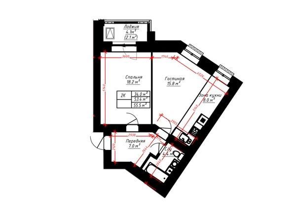2-комнатная 55.5 кв.м