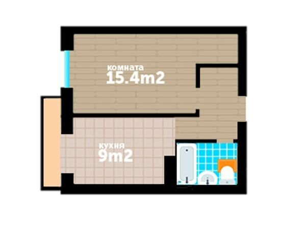 Планировки Жилой комплекс Артельный, 7 - Планировка однокомнатной квартиры 35 кв.м