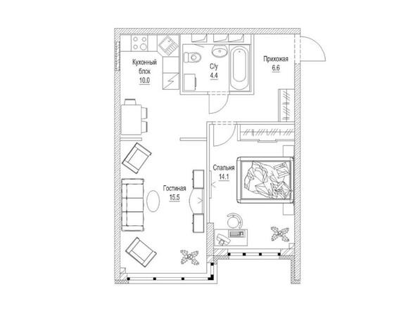 Планировка 3-комн 52,3 м²