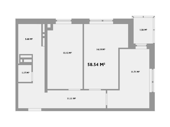 Планировки Жилой комплекс УСПЕНСКИЙ-2 - Планировка двухкомнатной квартиры 58,54 кв.м