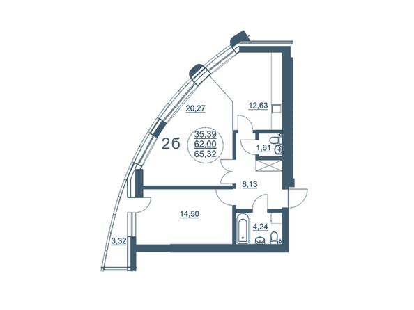 Планировки Жилой комплекс ФЛОТИЛИЯ - 2-комнатная 65,32 кв.м блок В