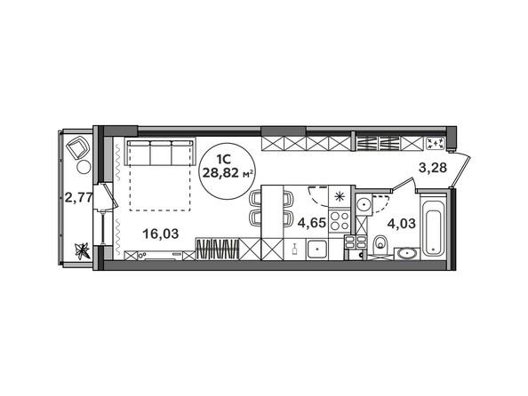Планировка Студия 28,82 м²