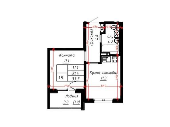 2-комнатная 33,3 кв.м
