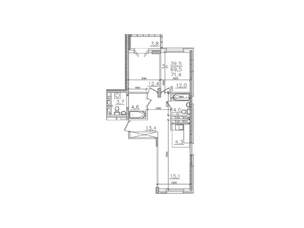 Планировки Жилой комплекс ЗОЛОТАЯ НИВА, дом 1 - Планировка трехкомнатной квартиры 69,5 кв.м