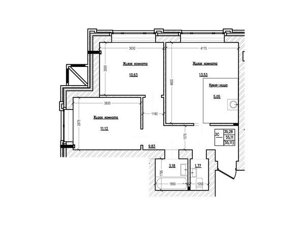 Планировка 3-комн 55,11 м²
