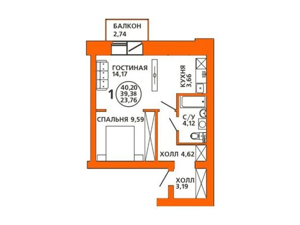 Планировка двухкомнатной квартиры 40,2 кв.м