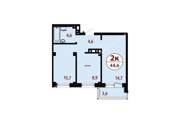 Планировки Жилой комплекс СЕРЕБРЯНЫЙ, квр 1, дом 1 - Секция 3. Планировка двухкомнатной квартиры 44,6 кв.м