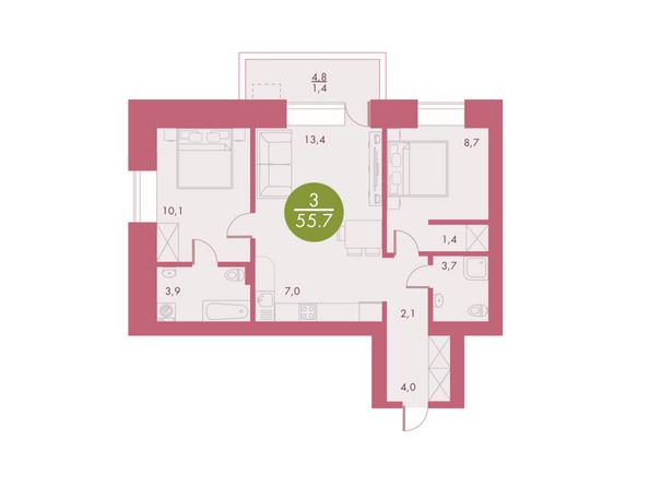 Планировки Жилой комплекс Арбан SMART (Смарт) на Шахтеров, д 3 - Планировка трехкомнатной квартиры 55,7 кв.м