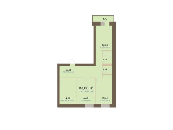 Планировка трехкомнатной квартиры 84,79 кв.м