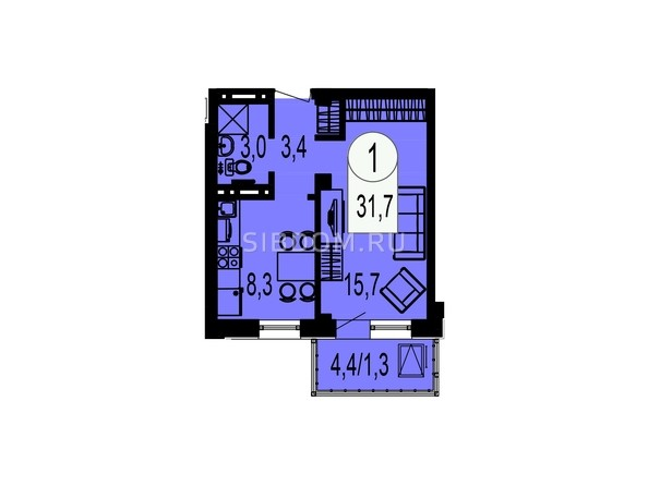 Планировка однокомнатной квартиры 31,7 кв.м