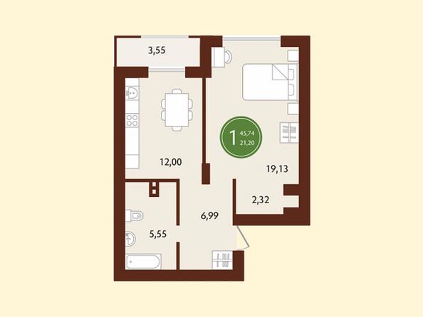 Планировки СОСНОВЫЙ БОР, 1 корпус - 1-комнатная 45,74 кв.м