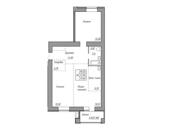 Планировка 3-комн 73,46, 74,94 м²