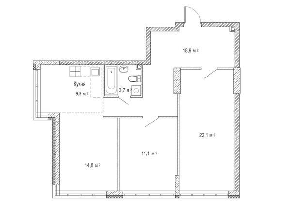 Планировка трёхкомнатной квартиры 85,5 кв.м