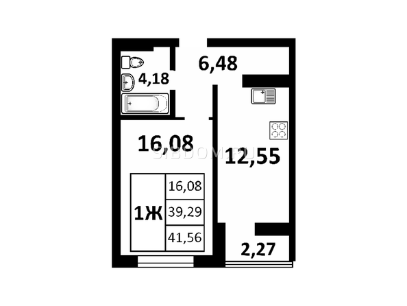 Планировки Жилой комплекс ЗОРКИЙ, 2 оч - 1-комнатная 41,56 кв.м