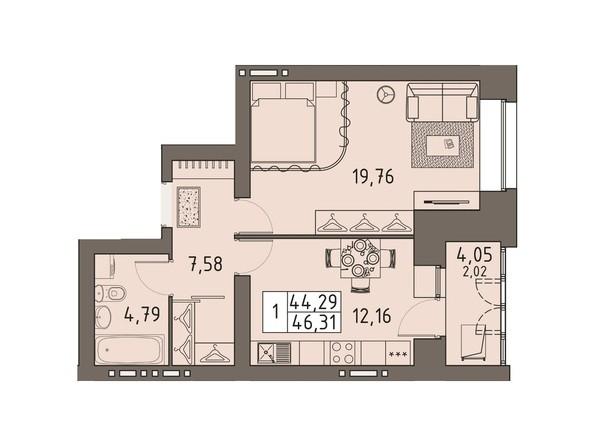 Планировки ВАВИЛОВСКИЙ ДВОРИК - 1-комнатная 46,31 кв.м
