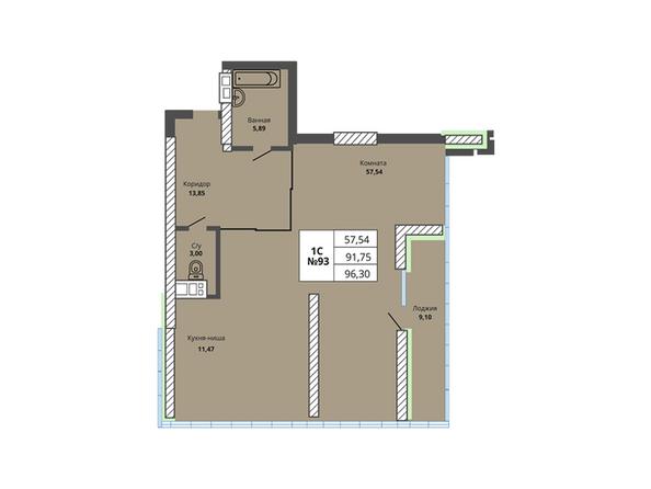 Планировки Жилой комплекс PRIME HOUSE (Прайм хаус) - Планировка однокомнатной квартиры 91,75 кв.м