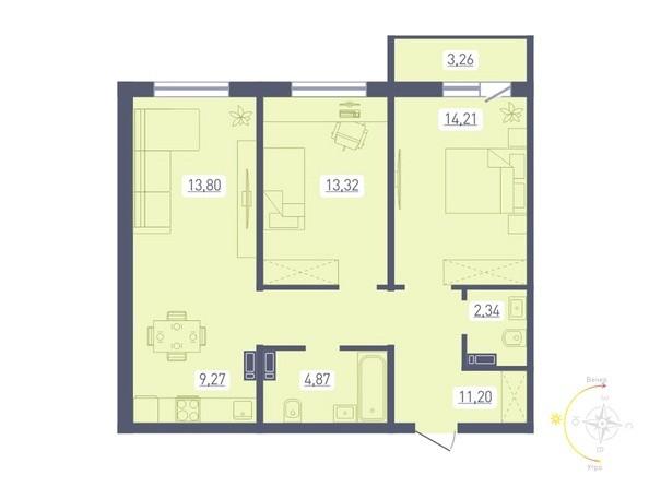 Планировка 3-комн 70,62 м²