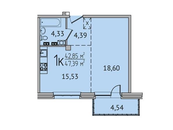 1-комнатная 47,2 кв.м