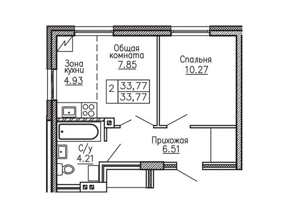 1-комнатная 33.77 кв.м