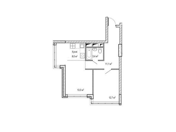 Планировки Жилой комплекс ЮЖНЫЙ, дом «Бирюзовый» - Планировка двухкомнатной квартиры 50,1 кв.м