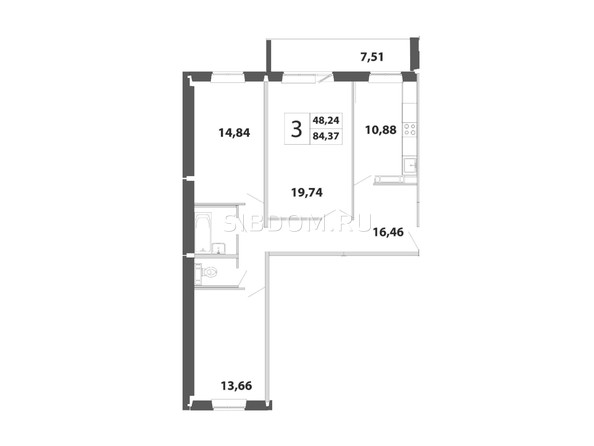 3-комнатная 84.37 кв.м