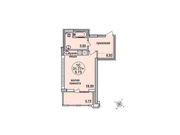 Планировки Жилой комплекс ЗАЕЛЬЦОВСКИЙ, 1 этап - Планировка однокомнатной квартиры 31,77 кв.м