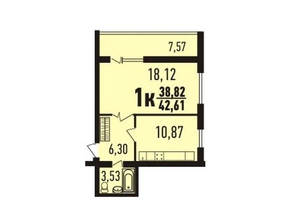 1-комнатная 42.6 кв.м
