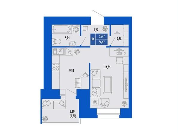 1-комнатная 33.77; 35.71; 36.47 кв.м