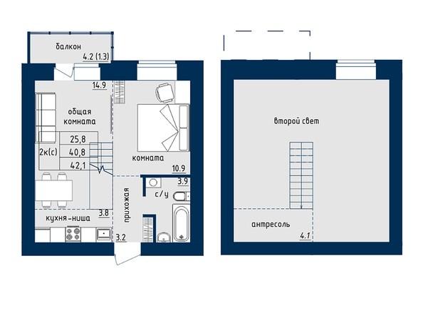 2-комнатная 42.1 кв.м