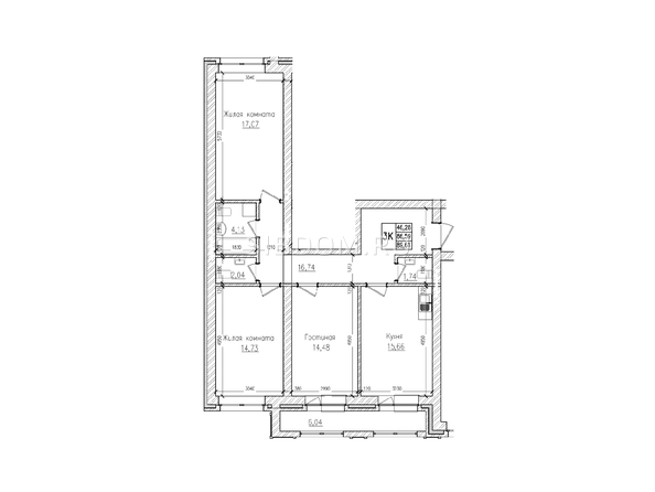 Планировки Жилой комплекс КРАСНЫЙ ПРОСПЕКТ, дом 4 - 3-комнатная 86,5 кв.м