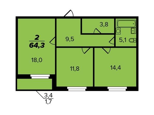 2-комнатная 63,4 кв.м.