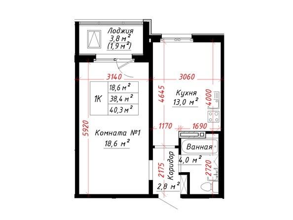 Планировка 1-комн 40,3 м²