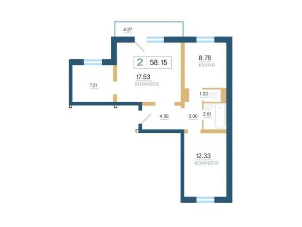 Планировка 2-комн 58,15 м²