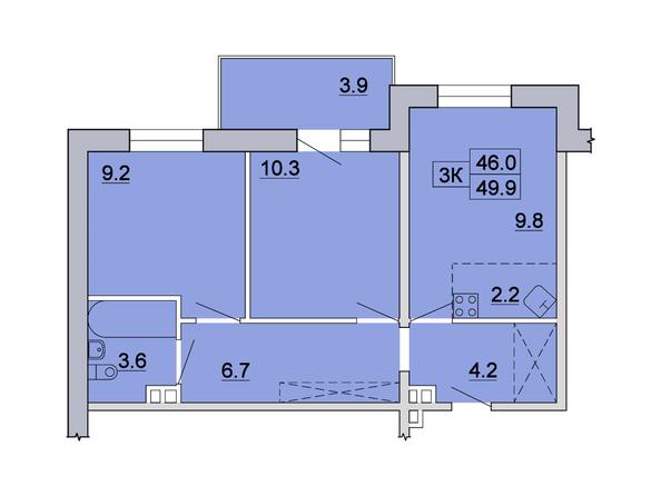 3-комнатная 49,9 кв.м