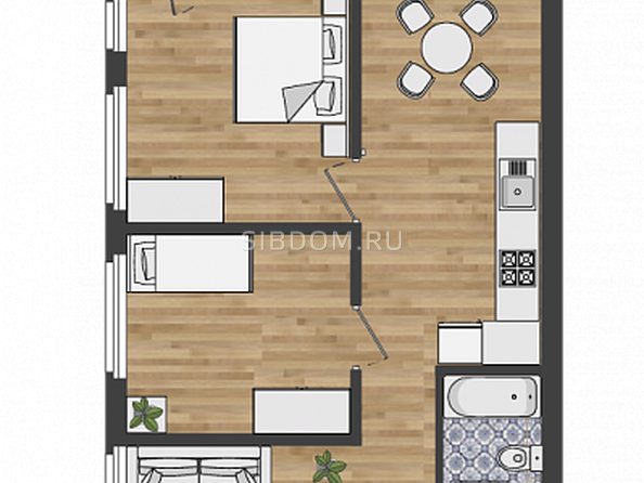 4-комнатная 1 этаж с террасой