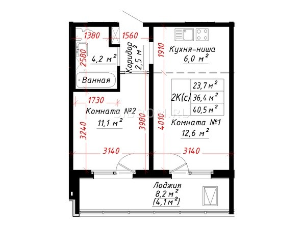 Планировка 1-комн 40,5 м²